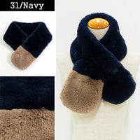Lune Jumelle Two Tone Faux Fur Scarf Navy SD826610-31