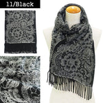 Lune Jumelle Lace Pattern Scarf Black WP828002-11