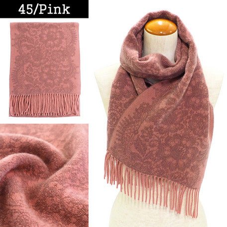 Lune Jumelle Lace Pattern Scarf Pink WP828002-45