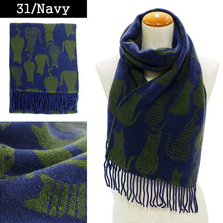 Lune Jumelle Sitting Cat Scarf Navy/Green WP828007-31