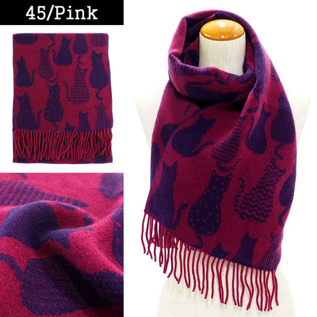 Lune Jumelle Sitting Cat Scarf Pink/purple WP828007-45