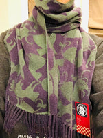 Lune Jumelle Cat Pattern Scarf Purple/Green WP728313-52
