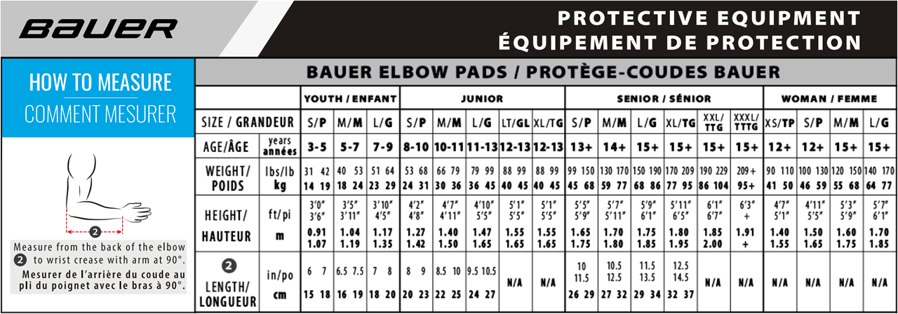 Bauer Hockey Elbow Pad Size Chart