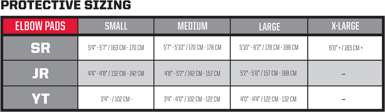 CCM Hockey Elbow Pads Size Chart