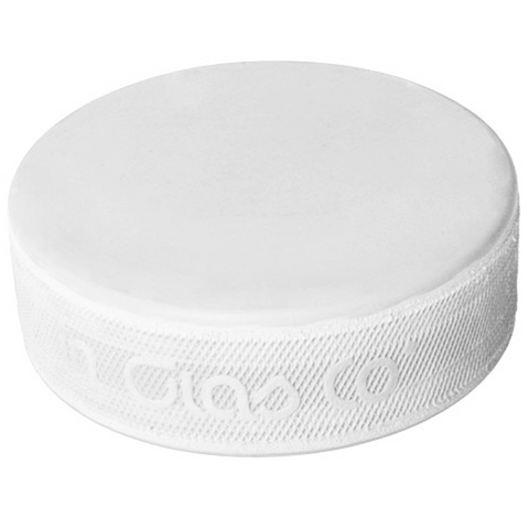 White Goaltender Training Hockey Puck