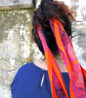 raw shock silk skinny scarf on model-img