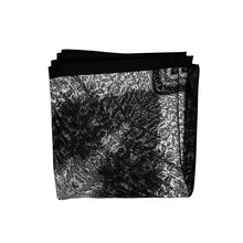 Load image into Gallery viewer, black stars silk square scarf folded