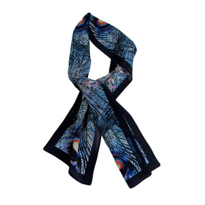 blue illusion silk skinny scarf-img