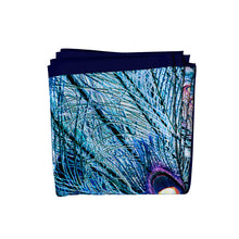 Load image into Gallery viewer, blue illusion silk square scarf folded