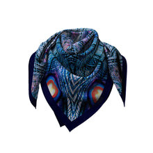 Load image into Gallery viewer, blue illusion silk square scarf looped