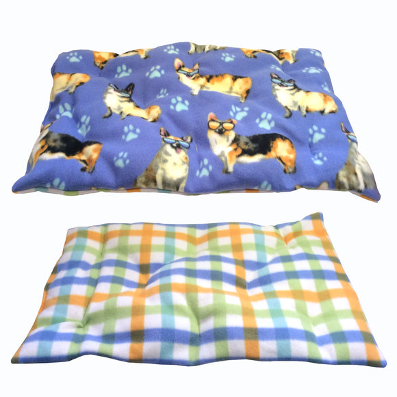 Cozy Dog Bed : Blue, Yellow, Green & White Corgi Paw print - LEAGUE OF CRAFTY CANINES