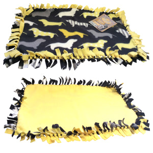 Crate / Stroller Blanket : Yellow, Gray & White Doxie pet bedding - LEAGUE OF CRAFTY CANINES