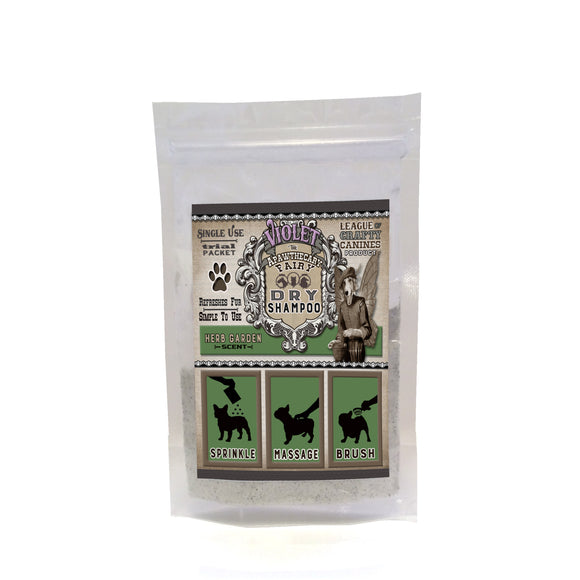 Violet the Apawthecary Fairy : (Herb Garden Scented) Dry Shampoo For Dogs! Trial Size - LEAGUE OF CRAFTY CANINES