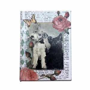 Vintage Photo Collage : Terriers & Roses - Mixed Media - Jack Russell/Scottish Terrier - LEAGUE OF CRAFTY CANINES