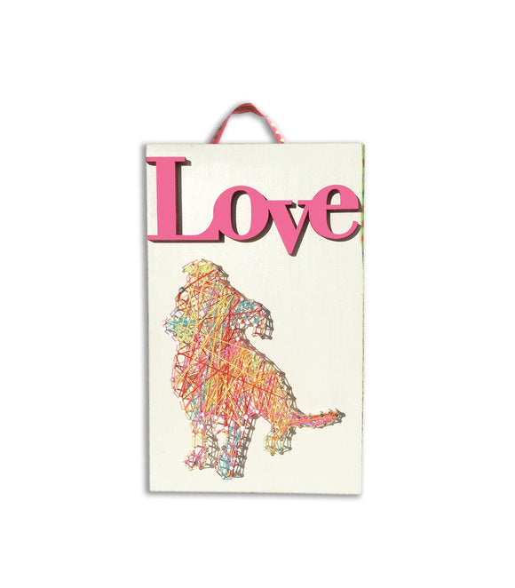 String Art : Love Puppy - Mixed Media - Dog Art - LEAGUE OF CRAFTY CANINES