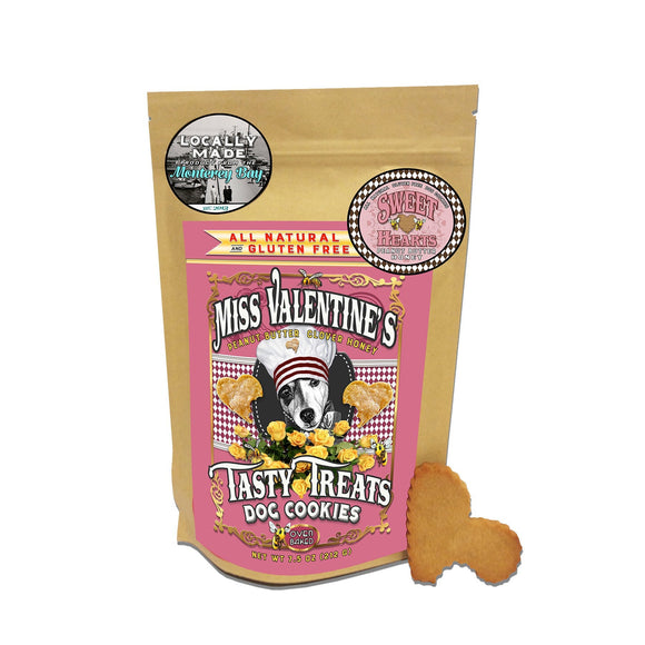 Sweet Hearts : Clover Honey + Peanut Butter - All Natural, Gluten Free Dog Cookies - LEAGUE OF CRAFTY CANINES