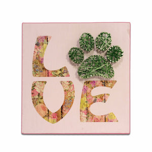 String Art : Love Paw - Mixed Media - Dog Art - LEAGUE OF CRAFTY CANINES