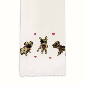 Dog Tea Towel  Bandanas & Hearts Themed Dog Kitchen Towel - LEAGUE OF CRAFTY CANINES