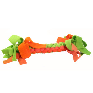 Dog Toy : Woven and Knotted Fleece Pull Toy - Bright Orange/Green - LEAGUE OF CRAFTY CANINES