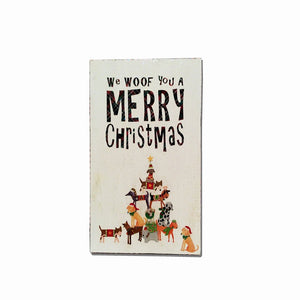 Signage : We Woof You A Merry Christmas - Dog Art Collage - LEAGUE OF CRAFTY CANINES