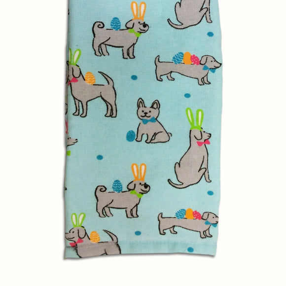 Dog Tea Towel  Spring/Easter Themed Dog Kitchen Towel - LEAGUE OF CRAFTY CANINES