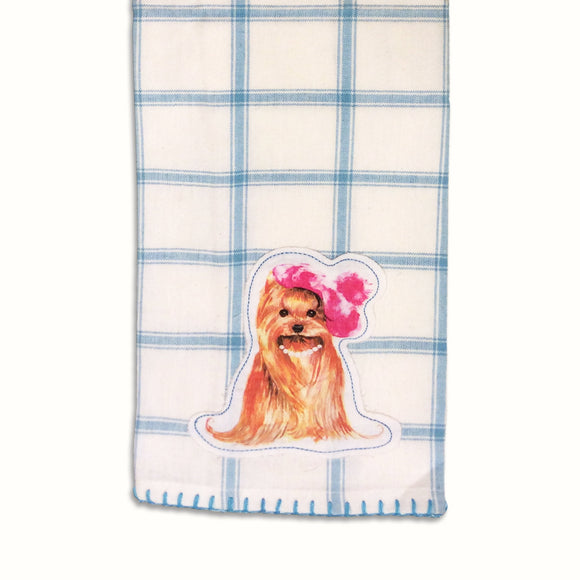Dog Tea Towel  Doggie Appliqué  -  Kitchen Towel - LEAGUE OF CRAFTY CANINES