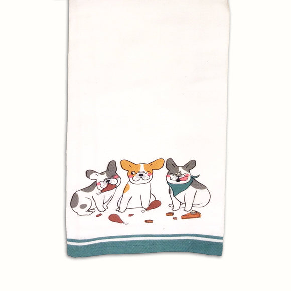 Dog Tea Towel  Hungry Dog Trio  -  Kitchen Towel - LEAGUE OF CRAFTY CANINES