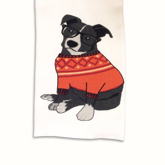 Dog Tea Towel Collegiate Canine Themed Dog Kitchen Towel Fall Theme - LEAGUE OF CRAFTY CANINES