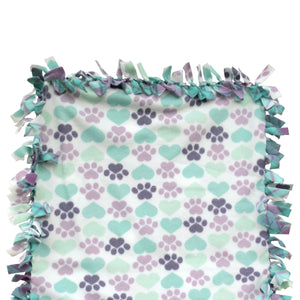 "Reversible, 2-Sided Fleece Stroller/Crate Dog Blanket : Lavender, Paws + Aqua Hearts w. Lavender back 22"" x 26"" - LEAGUE OF CRAFTY CANINES"