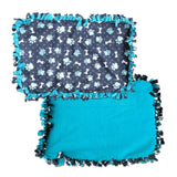 "Reversible, 2-Sided Fleece Stroller/Crate Dog Blanket : Navy Blue, Paws + Bones with Turquoise back  27"" x 32"" - LEAGUE OF CRAFTY CANINES"