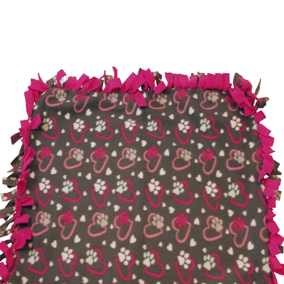 Reversible, 2-Sided Fleece Stroller/Crate Dog Blanket : Gray + Pink, Hearts and Paws w. Hot Pink back  27