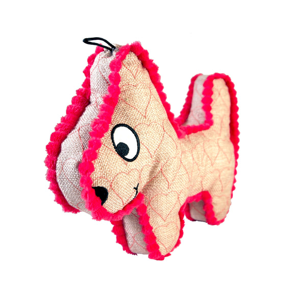Dog Toy : Burlap Dog Plush w. Hot Pink Trim (no squeak) - Plushie Puppy - LEAGUE OF CRAFTY CANINES