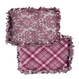 "Reversible, 2-Sided Fleece Stroller/Crate Dog Blanket : Burgundy + Gray, Paisley w. matching Plaid back 24"" x 28"" - LEAGUE OF CRAFTY CANINES"