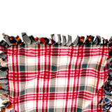 "Reversible, 2-Sided Fleece Stroller/Crate Dog Blanket : Gray, w. Dogs and Red Plaid back  26"" x 26"" - LEAGUE OF CRAFTY CANINES"