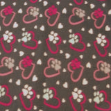 "Reversible, 2-Sided Fleece Stroller/Crate Dog Blanket : Gray + Pink, Hearts and Paws w. Light Pink back  27"" x 32"" - LEAGUE OF CRAFTY CANINES"