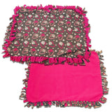 "Reversible, 2-Sided Fleece Stroller/Crate Dog Blanket : Gray + Pink, Hearts and Paws w. Hot Pink back  27"" x 29"" - LEAGUE OF CRAFTY CANINES"