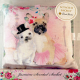 Punch Studio : Scented Square Fabric Pillow Sachet (Dressed Dogs w. Jasmine Scent) - LEAGUE OF CRAFTY CANINES