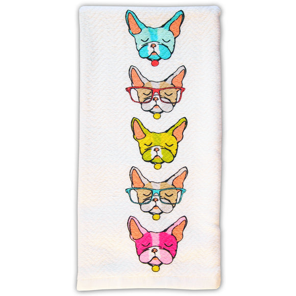 Frenchie Dog Tea Towel  Colorful Dozing Dogs  -  Kitchen Towel - LEAGUE OF CRAFTY CANINES
