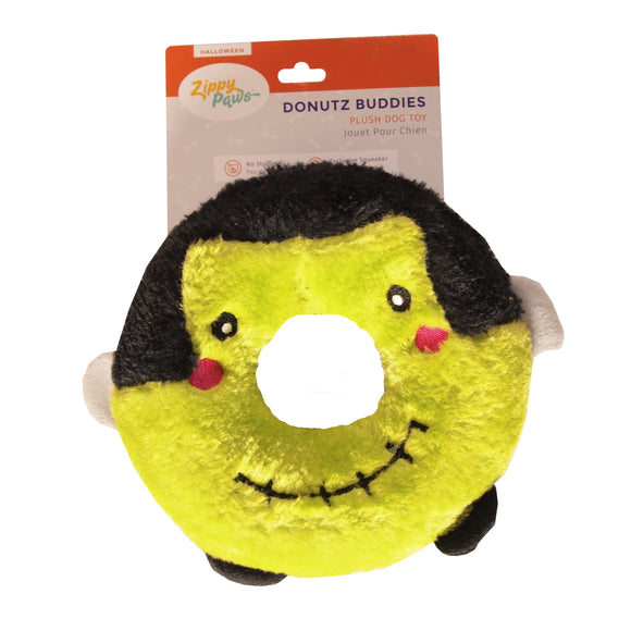 Halloween Donutz Buddie - Frankenstein's Monster -  Halloween plush dog toy - LEAGUE OF CRAFTY CANINES