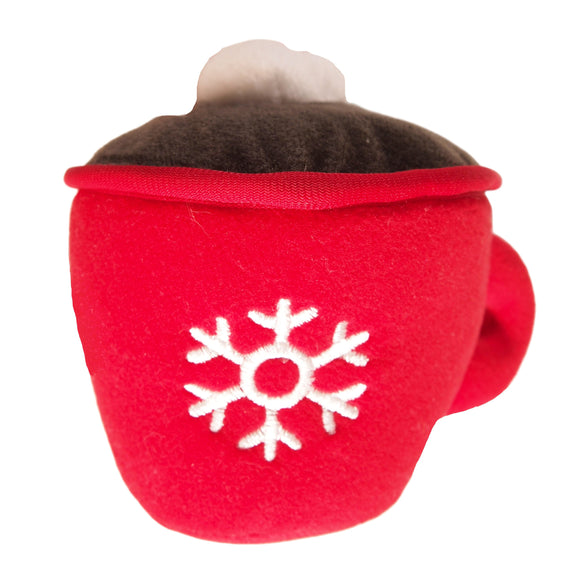 Holiday Hot Cocoa Mug - Holiday Themed Dog Toy - christmas plush with squeaker - LEAGUE OF CRAFTY CANINES