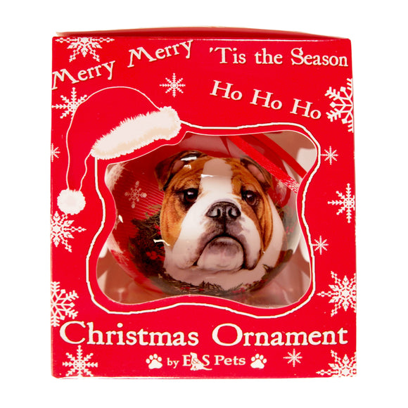 E&S Pets Christmas Ornament : Bulldog - new in box - deco dogs - LEAGUE OF CRAFTY CANINES