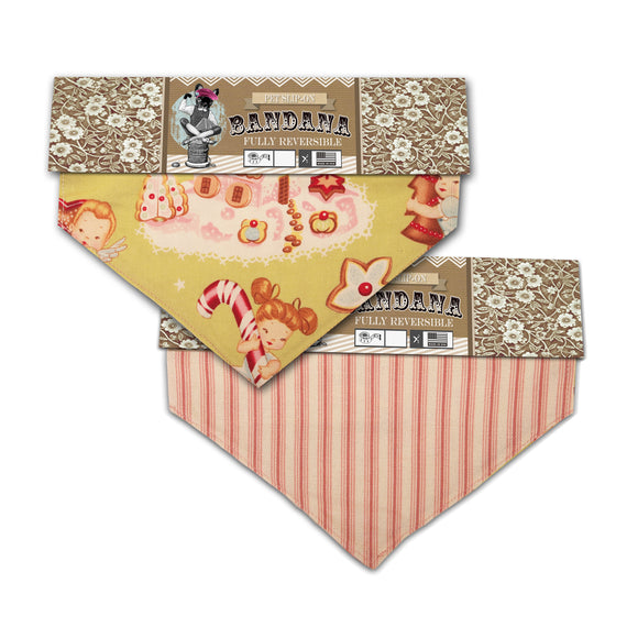 Gingerbread Christmas Themed Fully Reversible Pet Slip-On Bandana - Various Sizes - LEAGUE OF CRAFTY CANINES