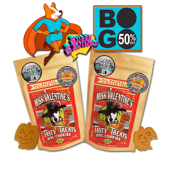 BOGO50% OFFER!! Trickster Treats  Pumpkin & Peanut Butter - All Natural, Gluten Free Dog Cookies - LEAGUE OF CRAFTY CANINES