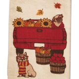 Frenchie Dog Tea Towel  - Fall Leaves and Dogs  - Thanksgiving Kitchen Towel - LEAGUE OF CRAFTY CANINES