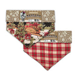 Snowy Christmas Themed Fully Reversible Pet Slip-On Bandana - Size Small - LEAGUE OF CRAFTY CANINES