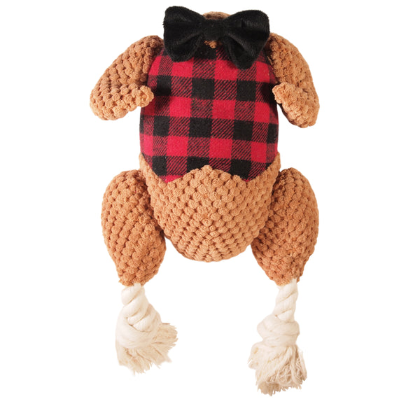 Thanksgiving/Fall - Dressed Turkey plush toy - squeaker - tug ropes - LEAGUE OF CRAFTY CANINES