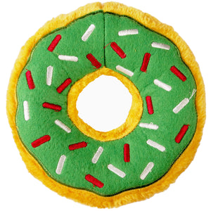 Christmas Holiday Donut Dog Toy : large - yellow/green with red + white sprinkles - LEAGUE OF CRAFTY CANINES