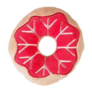 Christmas Holiday Donut Dog Toy : small - tan/red with snowflake topping - LEAGUE OF CRAFTY CANINES