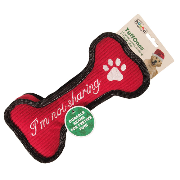 Christmas Dog Bone plush toy - heavy duty - double layered webbing - durable seams - LEAGUE OF CRAFTY CANINES