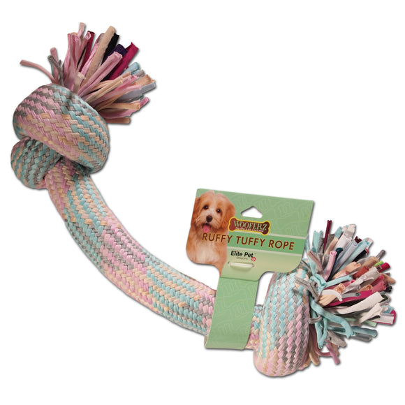 Dog Toy : Woven and Knotted Fleece Pull Toy - Large Version - Pastel Colors - LEAGUE OF CRAFTY CANINES